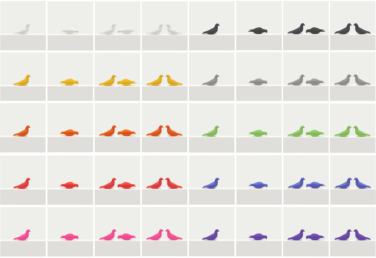 printed dove bookmarks in pecking and perched positions in various colors, blue, red, white, black, pink, orange, green, grey, purple, orange