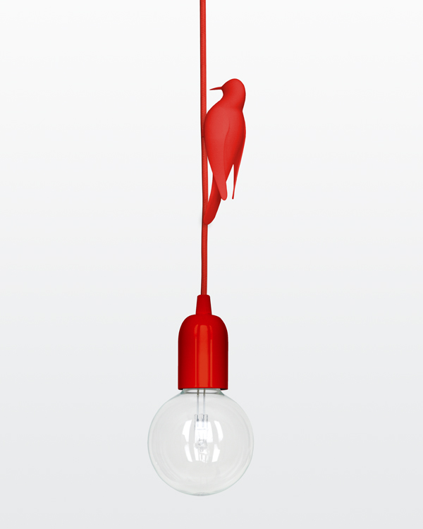 red 3D printed bird sitting on a red pendant light on a red textile cord seen from a 3 quarter back view