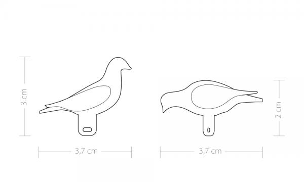 Technical drawing of pero bookmark in top side and front view