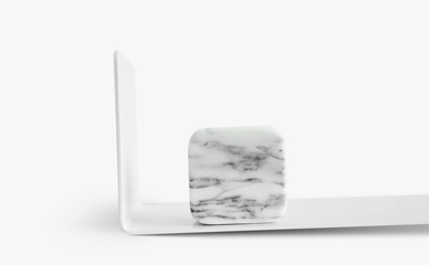 sava display shelf white color with soft edge marble book weight